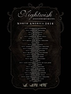 Даты тура Nightwish в 2016 году