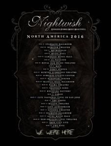 Даты тура Nightwish в 2016 году